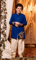 Blue Rawsilk machine embroidered.   Sherwani with band collar and buttons.   Cotton pants.