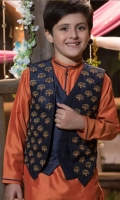 fancy waistcoat with handwork details on front and screen printed back and front panels paired with contrasting kurta shalwar .