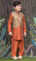 Kurta-shalwar suit   Contrasting finishing on collar and sleeves   Overlap-style waistcoat with loop buttons.