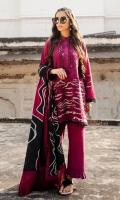 Embroided Dyed Khaddar Shirt 3.55 Mtrs Printed Viscose Net Shawl 2.50 Mtrs