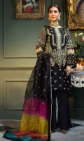 Shirt Embroidered Organza Front 1 m Embroidered Organza Sleeves 26 inches Embroidered Organza Back 1 m Inner Shirt 1.5 m  Trouser Raw Silk Trouser 2.5 m  Dupatta  Embroidered Organza Digital Printed Dupatta 2.5 m