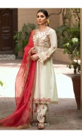 Frock Embroidered fancy slub lawn front and sleeve's frock finished with shisha work and stitching details. Trouser Embroidered Q lot trouser finished with lace work.. Duppata Embroidered tilla zari dupatta.