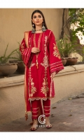 Shirt Embroidered lawn front and sleeve's finished with lace's and stitching details.back plain lawn finished with lace work. Trouser Embroidered cotton straight trouser finished with lace's and stitching details. Dupatta Lawn brosha dupatta finished with adda hanging.