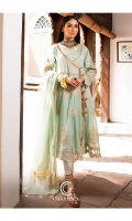 Shirt Embroidered lawn andrahka long frock finished with shisha work and stitching details. Trouser Embroidered cotton straight trouser. Dupatta Tilla zari lawn dupatta.