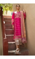 Shirt Embroidered lawn Front AND Sleeve's With Shisha Work and Organza Embroidered patch Work. Trouser Embroidered Cotton Qlot Trouser with Stitching Details.. Dupatta Tilla Zari Embroidered dupatta With Lace work details..