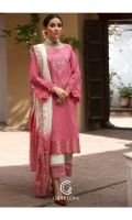 Shirt Embroidered Lawn Front And Sleeve's with Stitching Details and Pearls Attached on Both Sleeve's. Trouser Embroidered Cotton Qlot Trouser with Stitching Details.. Dupatta Embroidered Tilla Zari Tie-e-Dye Dupatta.