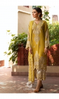 Shirt EMBROIDERED LAWN FRONT AND SLEEVE'S WITH SHISHA WORK  DETAILS.. Trouser Cotton Qlot trouser Finished  with Embroidered lawn Bottom Patch work. Dupatta Embroidered tilla zari Dupatta Finished with Adda Hanging On Both pallu.