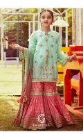 Shirt Embroidered lawn front with adda embellished neck, embroidered lawn back and sleeve's finished with lace work.  Gharara Paste print cotton gharara finished with embellished embroidery, lace's and stitching details.  Dupatta Zari tilla tie-e-dye crushed dupatta finished with lace work.