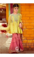 Shirt Embroidered lawn Front and back with stitching details, Embroidered Bamber Chiffon Sleeve's.  Gharara Cotton Paste Print Gharara Finished with Lace's and Stitching Details.  Dupatta Net Tie-e-Dye dupatta Finished With Lace and Adda Spray.