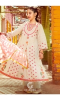 Long Shirt Embroidered zari lawn front  back and sleeve's long airline shirt finished with lace's and stitching details. Trouser Embroidered cotton trouser finished with lace work and stitching details. Duppata Net dupatta finished with lace work and stitching details.
