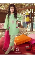 Shirt Embroidered lawn front with adda embellished neck, embroidered lawn back and sleeve's finished with lace work.    Trouser Brosha lawn straight trouser finished with organza embroidery, lace work and stitching details.  Dupatta Embroidered organza dupatta finished with cut and patch work.