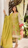 Shirt  Embroidered lawn fabric front Embroidered chiffon sleeve's Cotton tilla jaquard fabric back Dupatta  Cotton tilla jaquard fabric dupatta with sequence hangings Trouser  Cotton fabric pleats work trouser with embroidery patti