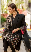 Shirt  Embroidered fabric front & sleeves Plain lawn fabric back Beads work on placket Dupatta  Embroidered net fabric dupatta with sequence hangings Trouser  Cotton fabric laces trouser