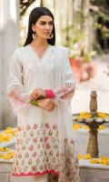 Shirt  Embroidered fabric front & sleeve's Plain lawn fabric back, beads work on placket Dupatta  Embroidered net fabric dupatta with sequence hangings Trouser  Cotton fabric laces trouser