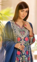 Shirt  Embroidered schiffli lawn fabric front & sleeve's Plain lawn fabric back Dupatta  Net fabric dupatta with sequence hangings Trouser  Cotton fabric pleats work trouser