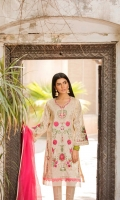 Shirt  Embroidered schiffli lawn fabric front & sleeve's Plain lawn fabric back Separate Inner  Resham lawn separate inner Dupatta Net fabric dupatta with sequence hangings Trouser  Cotton fabric pleats work trouser