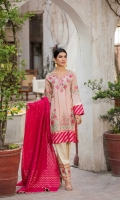 Shirt  Embroidered lawn fabric front & sleeves Lawn brosha fabric back Dupatta Cotton tilla zari dupatta with sequence hangings Shalwar  Embroidered cotton jaquard fabric shalwar