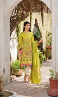 Shirt  Embroidered lawn fabric front & sleeves Cotton tilla jaquard fabric back Digital print organza fabric borders Dupatta Embroidered cotton tilla zari fabric dupatta with sequence hangings Trouser  Cotton fabric golden laces trouser