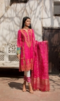 Shirt  Embroidered lawn fabric front Cotton tilla jaquard fabric back & sleeves Lawn fabric embroidered cuff borders Shisha work on front neck Dupatta  Embroidered cotton tilla zari dupatta with sequence hangings Trouser  Cuff borders & trouser Embroidered cotton fabric trouser