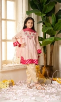 Shirt  Embroidered lawn brosha fabric front & sleeves Plain lawn brosha back Dupatta  Net fabric dupatta with golden lace & sequins hangings Trouser  Cotton tilla jacquard fabric shalwar with golden lace work