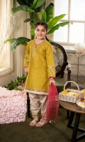 Shirt  Embroidered lawn fabric front & sleeves Plain lawn fabric back Sequence work on shirt neck & cuff Dupatta  Net fabric dupatta with golden lace work Trouser  Cotton fabric shalwar with embroidery patti & golden lace work