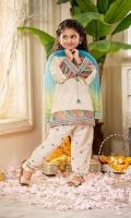 Shirt  Cotton brosha fabric front Back & sleeves Embroidered neck line Multi colors organza fabric cut & sew borders on daaman & cuff with golden laces Dupatta  Net tie & dye fabric dupatta with golden lace work Trouser  Embroidered cotton fabric shalwar