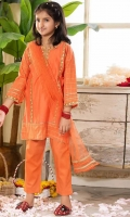Shirt  Embroidered cotton fabric front Tilla lawn fabric back & sleeves Dupatta  Net fabric dupatta with golden lace work Trouser  Cotton fabric trouser
