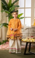 Shirt  Embroidered lawn brosha fabric front back & sleeves Sequins hangings on shirt Dupatta  Net dupatta with golden lace work Trouser  Cotton paste print fabric sharara with golden lace work