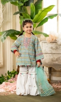 Shirt  Lawn print fabric front Back & sleeves Embroidered neck line & sleeves Dupatta  Net fabric dupatta with golden laces Trouser  Cotton fabric sharara with adda works