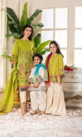 Shirt  Embroidered lawn fabric front & sleeves Plain lawn fabric back printed organza fabric cuffs Dupatta  Net fabric tie & dye dupatta with golden lace work Trouser  Cotton tilla jacquard fabric sharara with golden lace work