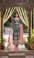 Shirt  Ready to wear organza heavy embroidered long maxi with adda work Trouser  Raw silk straight trouser finished with embroidered patti Dupatta  Organza embroidered dupatta