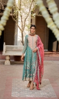 Shirt  Ready to wear organza heavy embroidered long maxi with adda work Trouser  Raw silk straight trouser finished with embroidered organza Dupatta  Organza embroidered dupatta