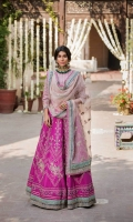 Shirt  Ready to wear raw silk heavy embroidered blouse finished with adda work Lehnga  Raw silk embroidered Lehnga with cancan Dupatta  Embroidered organza dupatta finished with adda work