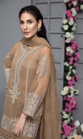 Shirt Embroidered organza front and sleeve's  with gotti lace and shisha work. Resham lawn attached inner. Plain organza back. Gharara Raw silk gharara with lace work. Dupatta Organza dupatta finished with lace and adda hanging.