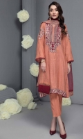 Shirt Embroidered tilla  zari front back and  sleeve's finished with organza patch. Adda work on front neck, sleeve's and front back daaman patti. Inner Resham lawn inner. Trouser Raw silk straight trouser. Dupatta Embroidered organza dupatta.