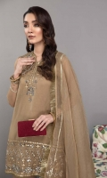 Shirt Embroidered Organza Front And Sleeves With Adda Work Plain Organza Back Resham Lawn Inner Attached Trouser Raw Silk Straight Trouser Dupatta Embroidered Organza Dupatta