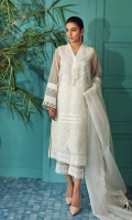Shirt Embroidered Organza front back and sleeve's Finished with adda Mottif On Neck Line and  Stitching Details with Lace Work. Resham Lawn Attached Inner. Qlot Trouser Embroidered Raw silk Qlot Trouser finished with stitching details. Dupatta Embroidered Organza Dupatta with Stitching Details.