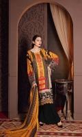 Shirt Marina Printed Front + Back + Sleeves 3.4 m Trouser Marina Trouser 2.5 m Shawl Embroidered Pashmina Shawl 2.5 m