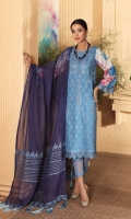 Shirt Lawn Print Front +Back + Sleeve 3.4M Embroidered Front + Back Daman Patti 2M  Trouser Cotton Trouser 2.5 M  Dupatta Embroidered Chiffon Dupatta 2.5 M