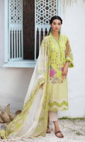 Shirt Embroidered Front Lawn Print 1.4M Embroidered Front Neckline Patti 1.5M Lawn Print Back +Sleeves 2M  Trouser Embroidered Cotton Trouser 2.5 M  Dupatta Embroidered Printed Chiffon Dupatta 2.5 M