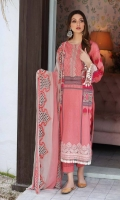 Shirt Lawn prints Front back and Sleeve 3.4M Embroidered Lawns Front Daman Patti 1M Embroidered Front Neck +Sleeve Patti 2M  Trouser Cotton Trouser 2.5 M  Dupatta Embroidered Printed Chiffon Dupatta 2.5M