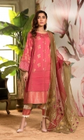Shirt Digital Printed Jequared Lawn Front back and sleeve's  Finished with Lace and Stitching Details. Trouser Paste Printed Trouser With Emb Shiffli and Sitching Details. Dupatta Organza Multy Emb Dupatta Finished With Lace Work.