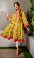 Long Frock Embroidered digital Printed Lawn Front back and sleeve's long Frock Finished with Lace and Stitching Details.