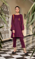 Shirt  Crape Leather Front/Back and Sleeves Embroidered Pocket And Sleeves Trouser  Crape Leather Embroidered Trouser