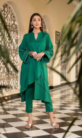 Shirt  Crape leather Front/Back And Sleeves Embroidered Sleeves With Frill Pleats With Lace Work On Front And Sleeves Trouser  Crape Leather Embroidered Trouser
