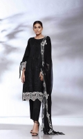 Shirt Embroidered Front Lawn 1.25 m Embroidered Front Galla Motifs 2 Pcs Back 1.25 m Sleeves 0.75 m Embroidered Daman + Sleeves Patti 2 m Trouser Trouser 2.50 m Embroidered Trouser Patti 1 m Dupatta Embroidered Chiffon Dupatta 2.50 m