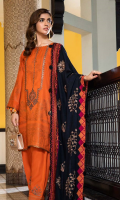 Shirt  Embroidered Front Neck 1 Piece Leather Jacquard Front + Back + Sleeves 3.4 m Trouser  Embroidered Trouser Patti 1.5 m Leather Trouser 2.5 m Shawl  Embroidered Pashmina Shawl 2.5 m