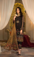 Shirt Embroidered Front Chiffon 1 m Embroidered Back 1 m Embroidered Sleeves 26 Inches Back Daman Patti 1.5 m Inner Shirt 1.5 m Trouser Raw Silk Trouser 2.5 m Embroidered Trouser Patti 1 m Duppata Embroidered Organza Duppata 2.5 m