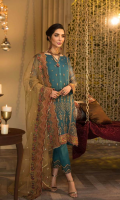 Shirt Embroidered Front Chiffon 1 m Embroidered Back 1 m Embroidered Sleeves 26 Inches Inner Shirt 1.5 m Embroidered Daman + Sleeves Patti 2.5 m Trouser Trouser Raw Silk 2.5 m Embroidered Trouser Patti 1 m Duppata Embroidered Net Duppata 2.5 m