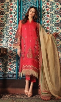 Shirt Embroidered organza front and sleeve's finished with adda hanging and stitching details. Trouser Embroidered raw silk straight trouser with stitching details. Dupatta Embroidered organza dupatta finihed with stitching details.